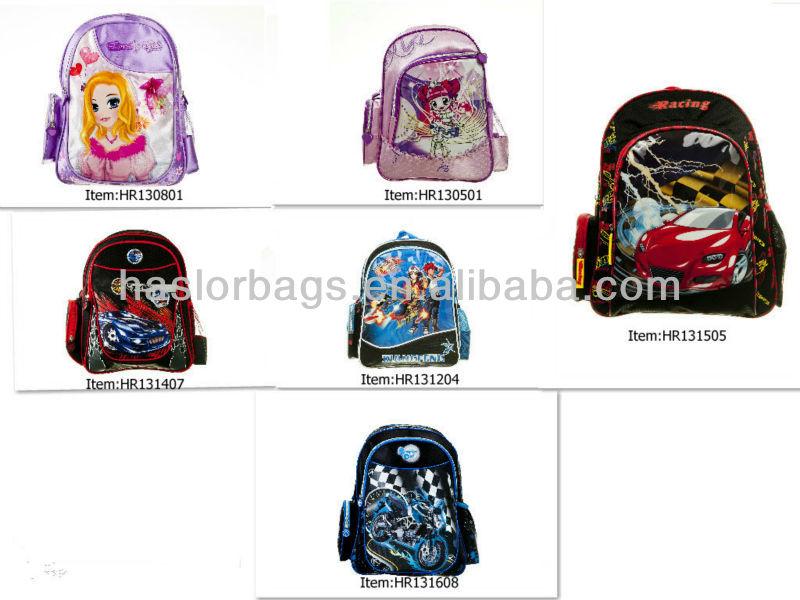 New Style gros personnage de dessin animé enfants enfants sacs d'école pour garçons
