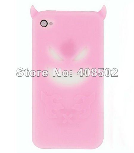 Demon Devil Ghost Case Cover For Apple iPhone 4 4G 4S Soft Silicone Cute Cartoon Pattern Multicolor Low Price 100pcs/lot CA0002