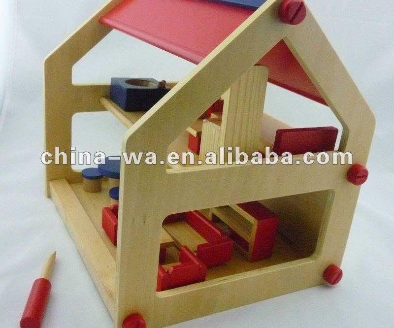 wooden DIY children's small doll house and mini furniture toy set