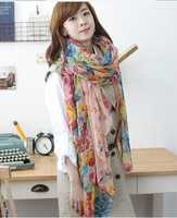 Женский шарф fashion broken beautiful big flower rectangle broken beautiful scarf