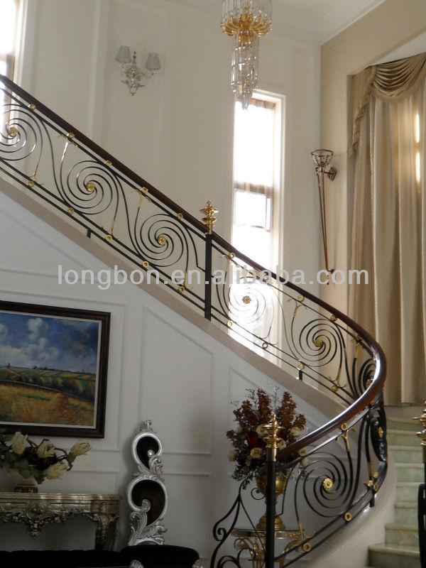 topventa de interior moderno de hierro forjado pasamanos de la escalera