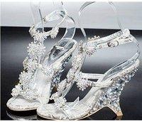 Женские сандалии 2012 High Quality Crystal sandals wedge sandals with rhinestone/Fashion wedding crystal shoes/Size:34-38/! GF100
