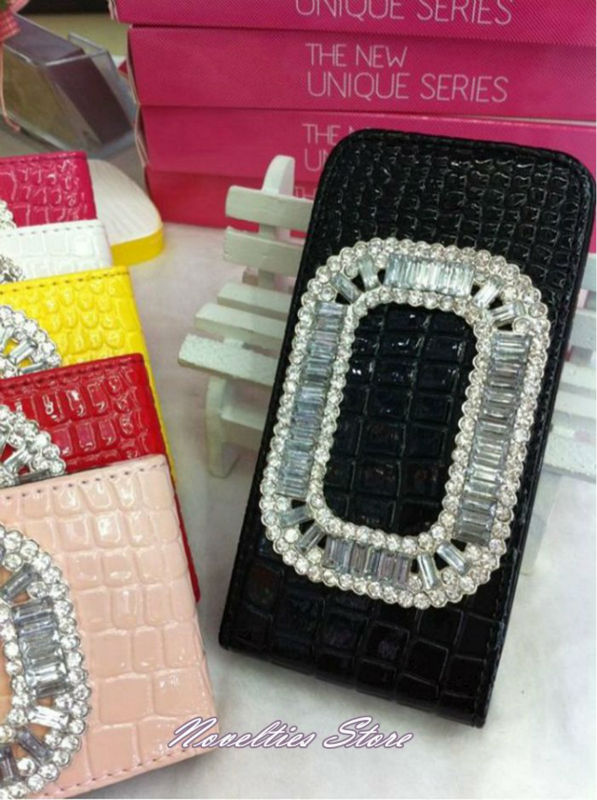 NS-234 Elegant Flip Crocodile Leather Case with Diamond Rhinestone for iPhone 4, iPhone 5 -5\'
