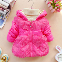Girls Kids Toddler Clothes Cotton Coat Winter Jacket Snowsuit With Lace 1 3Y K40