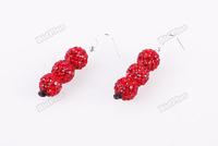 bidplus Shamballa Stud Earring 10mm Clay CZ Crystal 3 Disco Ball Bead Hot