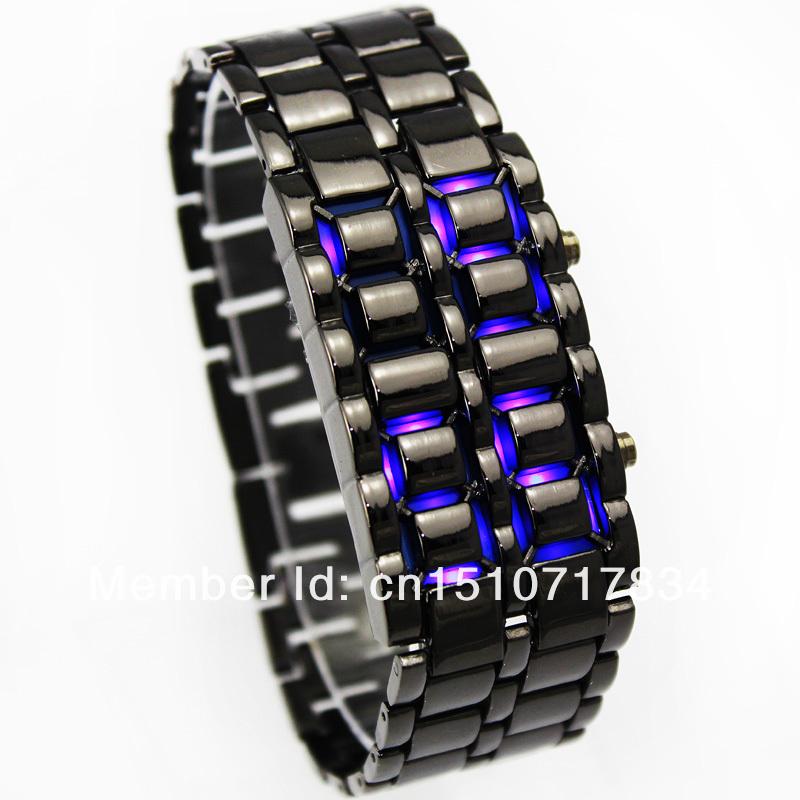 Iron Samurai Blue LED Watch Black