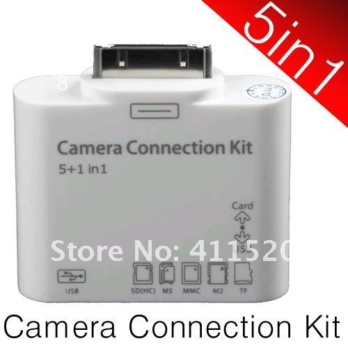 5 in1 USB Camera Connection Kit SD TF Card Reader Adapter for Apple's iPad 2