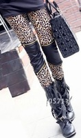 Женские носки и Колготки Hot Sale Sexy Fashion Imitation Leather Patchwork Zipper Leopard Leggings Fashion Women and Retail Drop shipping