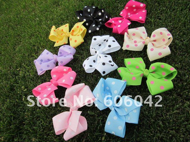 "50pcs/lot,4.3""-4.5''baby ribbon polka dot  bows without clip,grosgrain hairclips,Bow Dots,Girls' hair accessories,Via china post"