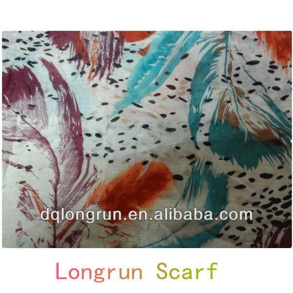 Latest leaf printed scarf wholesale