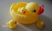 Аксессуары для купания Baby Bath Bathing Squeaky Toys Rubber Race Ducks Yellow