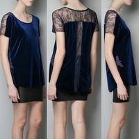 Free shiping BlaBud silk velvet coat strip hollow out open back dew shoulder bud silk splicing short sleeve T-shirt