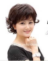 Парик из искусственных волос New Ladies fashion short hair wig fluffy dark brown curly hair