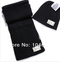 Женские шарфы, Шапки, Комплекты Top quality Men Cotton Knitted Brand Hat Scarf Embroidery LOGO Nice Gift Winter Warm Well Cap Scarf Two piece suit