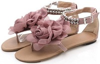 FREE SHIPPING 2012 HOT SALE S317 high quality leather uppers chic flat shoes sexy lady shoes women's fashion sandals size 30-43