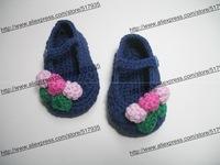 ручной работы крючком baby девушка цветок сандалии 100% cotton.double подошвы, кроватка обувь дома синий с 3 цветами