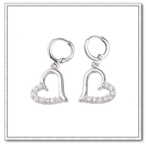 Серьги висячие Romantic Love Rhodium Plated Heart Shape CZ Earrings