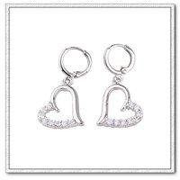 Серьги висячие 2013 Fashion White Gold Plated Heart Earrings, Hoop Earring For Women