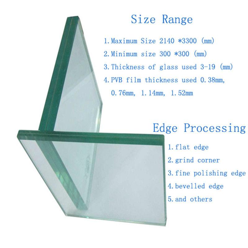 Density Float Glass Float Glass 6mm 0.38pvb 6mm