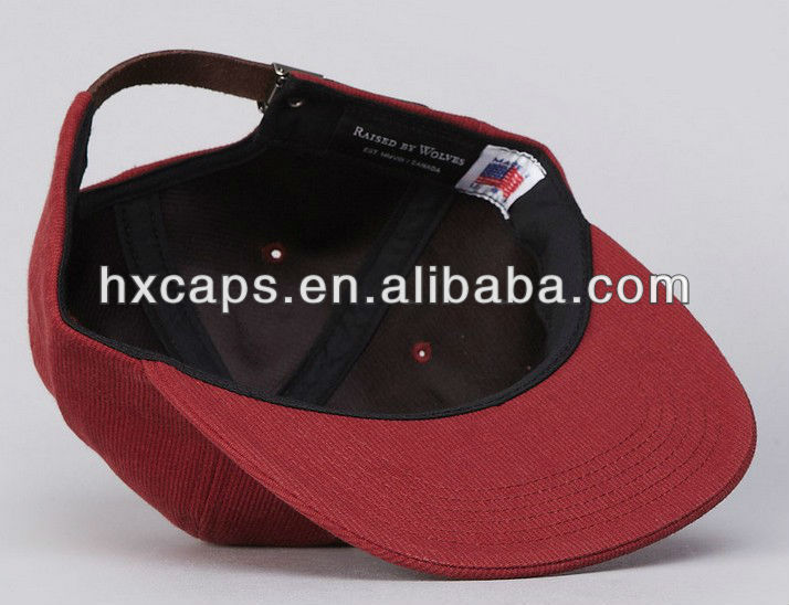 Wholesale custom cotton corduroy flat brim vintage snapback hat cap
