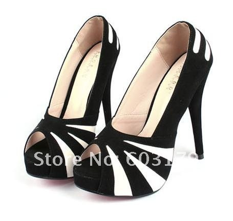 size 35-40 Women's Pumps.Fashion black/white High heeled Shoes hh1149