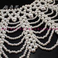 Колье-ошейник luxury elegant choker bib vintage pearl necklace, Fashion collar for women dress, party accessories