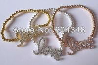 Ювелирное украшение с крестом 3SETS/LOT Charm Gold / Rose Gold / Silver Tone Crystal Rhinestone Sideways Love Bead Connector Bracelet Stretch Jewelry Bracelet