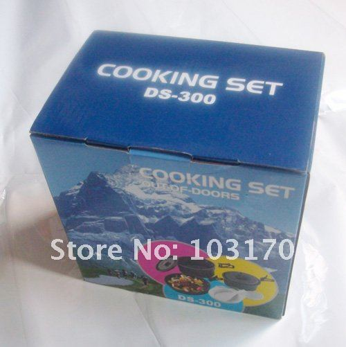 Free Shipping Anodised Aluminium Camping Outdoor picnic Cookset 2~3  persons Family Picnic Cookset 7pcs/set