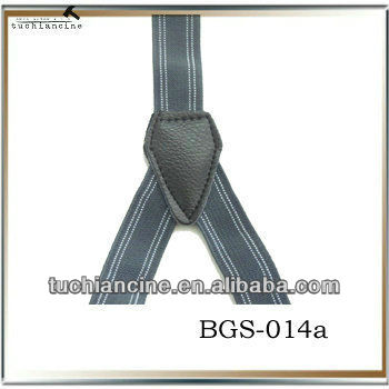 Black stripe fashion ployester elastic mens suspenders