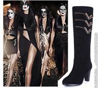 мода женщин леди Женская обувь кожа нубук кожа на высоких каблуках сапоги ботинки водонепроницаемый руки колено высокие сапоги женские сапоги