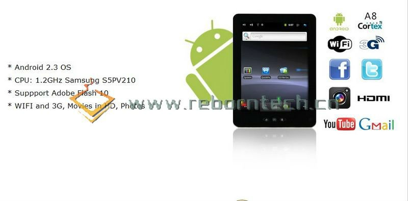 Mid 703 Android 2.3 Tablet PC S5PV210 Cortex A8 1.2GHz 1080P HDMI Bluetooth