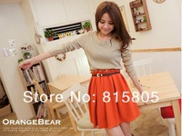 Женская юбка 201 Fashion autumn and winter Knitting color matching waist dress conveyor belt! X16403706003