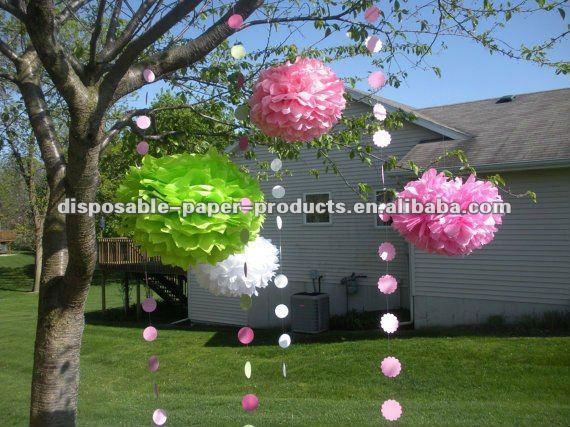 Decorações da Festa de aniversário de Papel Tissue Pom Pom Flor Flores Grandes
