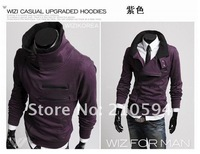 2012 FreeShipping Wholesale 2PCS 10%OFF High Quality NEW Style Men Slim Sexy Top Designed Hoody Jacket M L XL XXL 4COLOR 4 SIZE