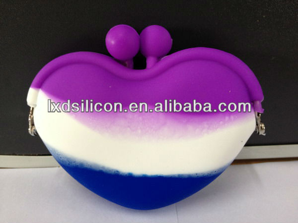 Mixed Colors Silicone Coin Purse Heart