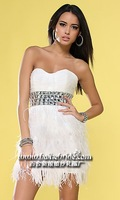 FREE SHIPPING White ostrich feather sexy short knee-length night dress