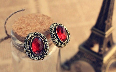 New  Oval carved hollow gemstone earrings ,Ruby and sapphire Earring  ,free shipping,wholesale
