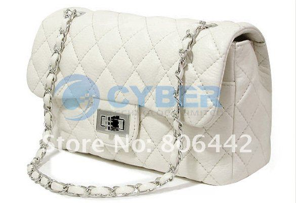 Lady's Classic Clutch Handbag Quilting Chain Cross leather Shoulder Bag Free Shipping