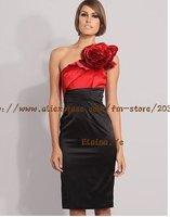 Одежда и Аксессуары Fashion one shoulder big flower slim pencil dress women's evening dress ladies' dress