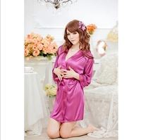 Free shipping sexy lingerie Mike Silk robe dress+g string set sleepwear costume sexy sleepwear