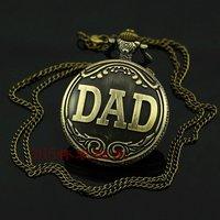 Карманные часы на цепочке 47x47mm New Ladies DAD bronze color Case Necklace Pocket Watch P051
