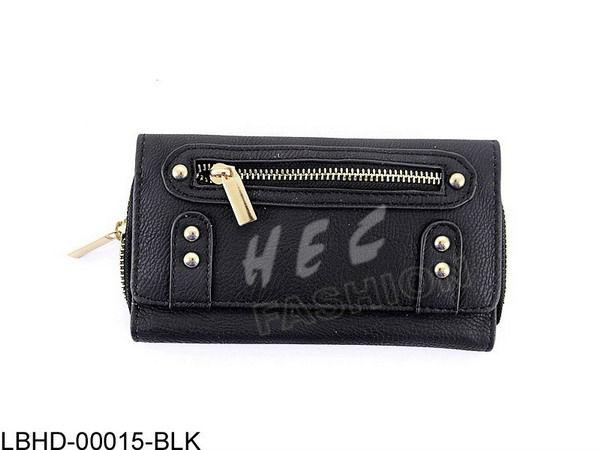 Fashion Trendy Black Fake Leather Wallets Ladies Folding Purses