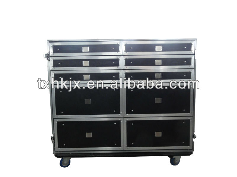 Aluminum case with drawers and wheels,mixer case
