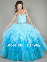 потрясающие голубой органзы бисером вечер конкурс платье последний звонок Выпускной Бал платья