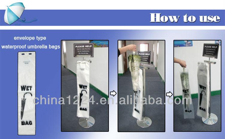 2014 new hotel furniture biodegradable bag for wet umbrella dispenser printing logo machine