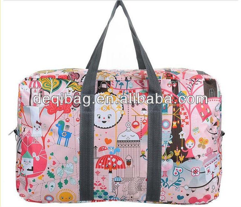 Large capacity printing flower waterproof folding nylon travel bag for women
