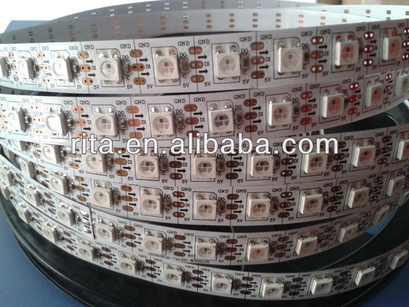 5m DC5V WS2812B led pixel srip,non-waterproof,74pcs WS2812B/M with 60pixels;BLACK PCB,only 4PIN