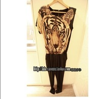 Женский комбинезон European style leopard stitching Slim piece pants original single piece pants jumpsuit