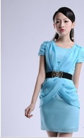Женское платье Beautiful and elegant clothing summer mm one-piece dress slim chiffon one-piece dress short-sleeve female