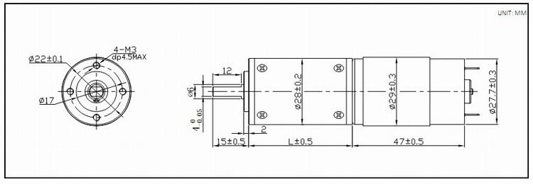 28mm 12v mini 12v dc gear motor with encoder